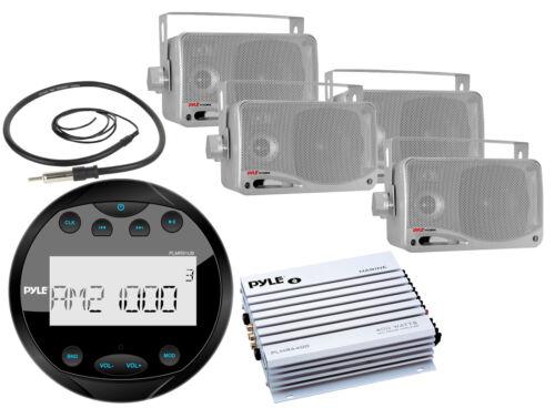 "3.5/"" Box Speakers 400W Amplifier Pyle Round AMFM Bluetooth Boat Radio Antenna"