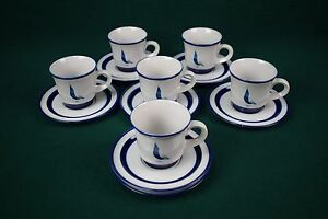 Noritake-Running-Free-Cups-and-Saucers-6-Sets-Estate-Find