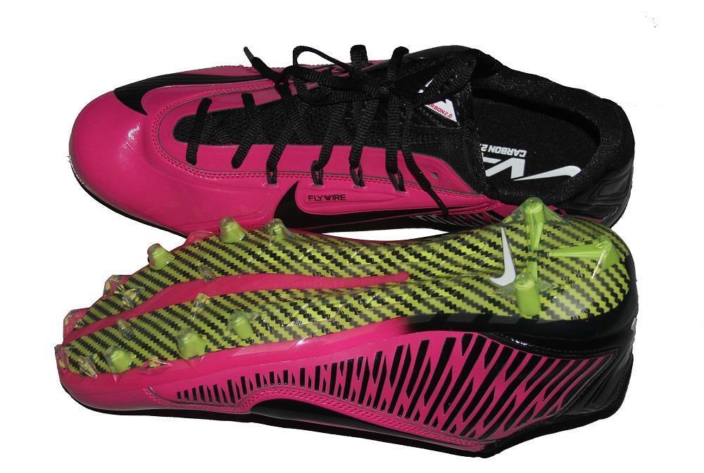 Nike Vapor Carbon 2.0 Flywire Bright Pink Breast Cancer Football Cleats MENS NEW