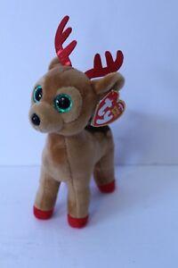 New Ty Beanie Babies Tinsel Reindeer Beanie Holiday