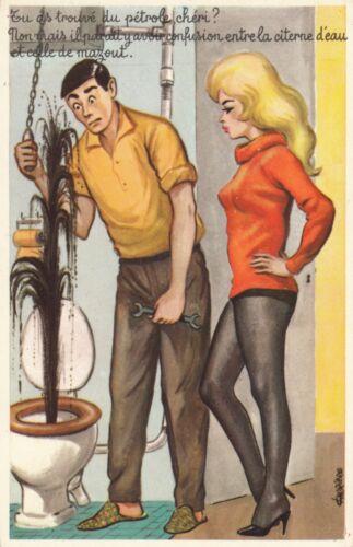 Carte postale HUMORISTIQUE HUMOUR tu as trouvé du pétrole chéri