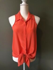 Rory-Beca-Womens-Button-Down-Tank-Top-Blouse-Size-XS-Peach-Pink-Front-Tie-Silk