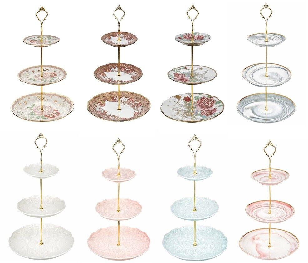 3 livello a fiori in ceramica Cake Stand tè pomeridiano Festa Di Nozze Piatti Stoviglie