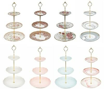 3 Tier Floral Ceramic Cake Stand Afternoon Tea Wedding Plates Party Tableware
