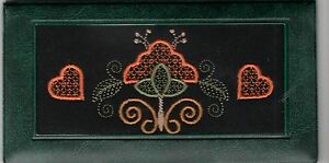 Flowers & Hearts Themed Embroidered Photo Checkbook Cover W/ Check Register WG24