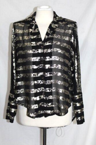 Camicia Oro E A Gievergate Donna Semitrasparente Nera Righe M Maniche O8xaZq6