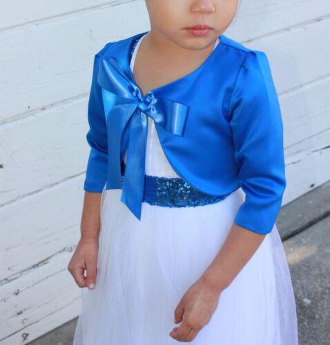 3//4 Sleeves Satin Flower Girl Bolero Girl Jacket Cape Shrug Dress Cover Up New