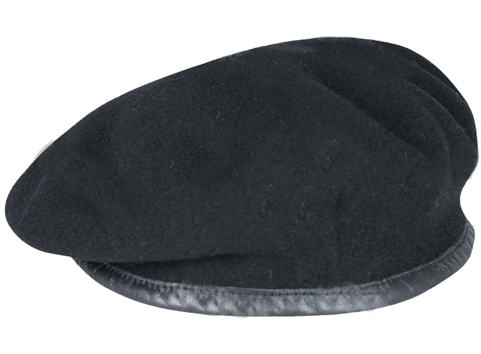 MILITARY CAP HAT = XS S M L XL NEW 100/% WOOL MENS BERET REAL LEATHER TRIM