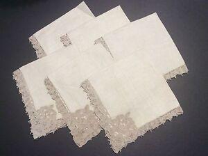 Antique Set Of Six Linen Napkins With Reticella Lace