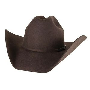 BROWN-4X-Beaver-Fur-Felt-HAT-4-034-Brim-Rodeo-King-Cowboy-Western-Strait