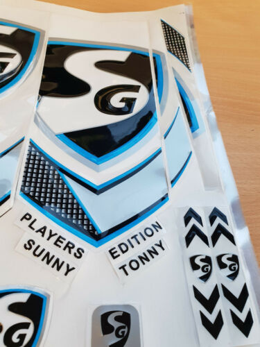 3D//EMBOSSED SG BLACK//BLUE PLAYERS EDITION CRICKET BAT STICKER