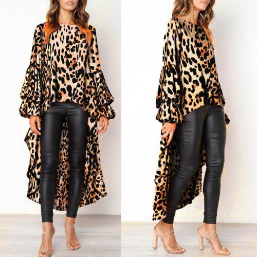 Women Boat Neck Leopard Print Ruffles Irregular Long Sleeve Tops Blouses Dress J