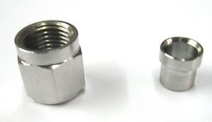 Stainless steel 06 an tube nut and sleeve fits 3 8 o.d.tube