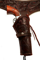 22 Brown Western/cowboy Action Hollywood Style Leather Gun Holster And Belt