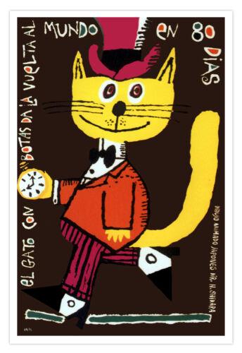 """Spanish movie Poster/""""YELLOW Elegant top cat 80 days around the world/""""Children"""