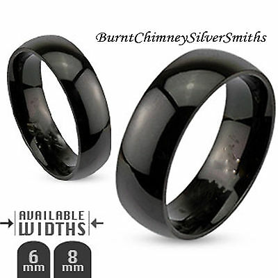 Custom Engraving Domed Black Stainless Steel Name Ring Personalized Band R003