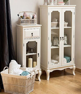 Image Is Loading Small French Cabinet  White Bedroom Furniture Vintage Cupboard