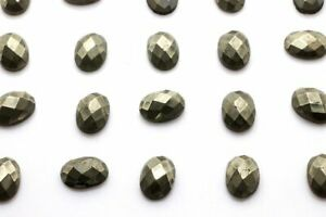 Oval-Natural-Pyrite-Gemstone-Faceted-Cabochon-Loose-Jewelry-Making-Bulk-Sale-Gem