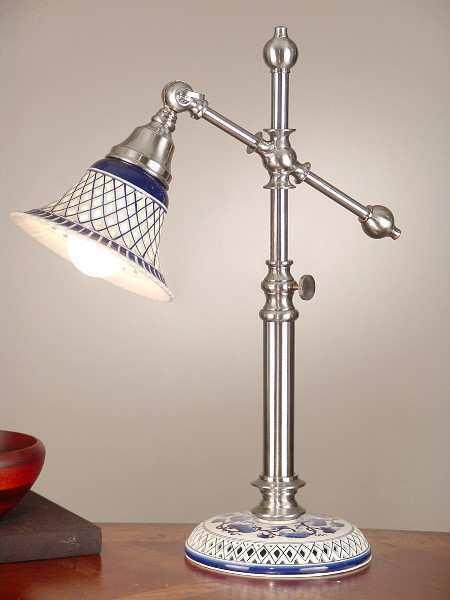 Table Lamp, Blau & Weiß Ceramic w Brushed Steel