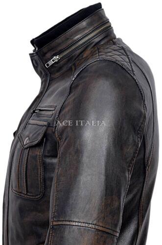 Mens Leather Jacket Black /& Brown Casual Vintage Soft 100/% REAL NAPA JACKET 1501