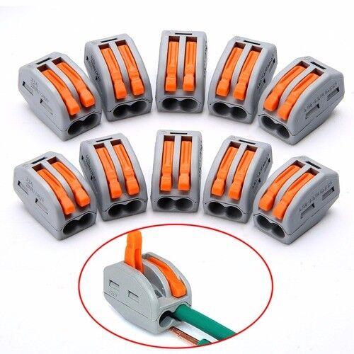 Bloque De Terminal Palanca De Resorte 50 un Cable Eléctrico Cable Conector 2//3//5 vías Gris