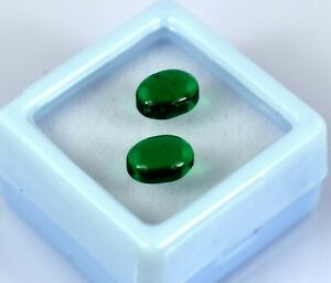 Natural 3 Ct Colombian Emerald May Birthstone Oval Cabochon Pair Certified SQ12