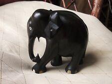 "VINTAGE SOLID EBONY WOOD GOOD OLD CARVED ELEPHANT 4"" HIGH GOOD GRAIN #336"