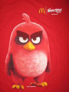 7e094e85 MCDONALDS ANGRY BIRDS MOVIE T SHIRT Angriest Bird Grumpy RED Jason ...