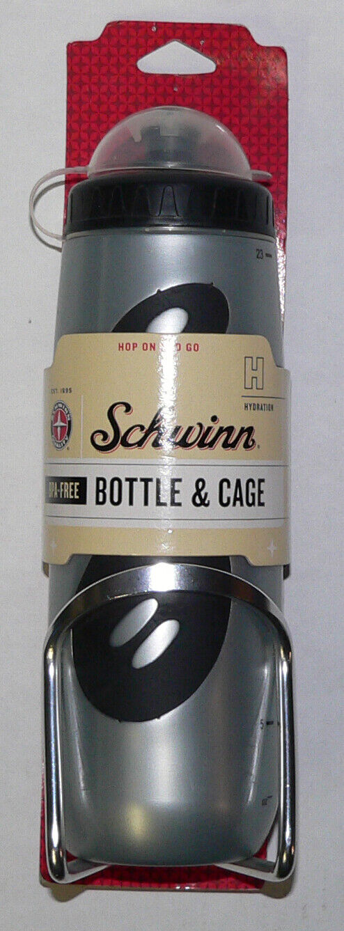 Schwinn Bicycle Water Bottle /& Cage Colors May Vary Free Shipping
