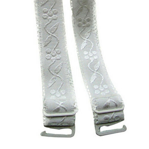 WHITE PATTERN Bra Straps Adjustable Detachable Metal Hook  FREE POSTAGE UK