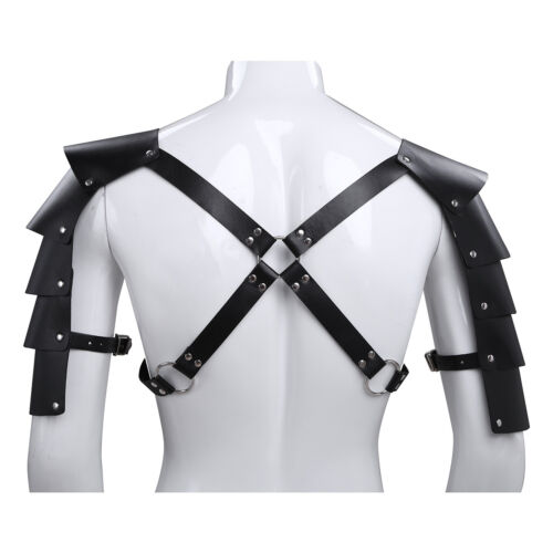 Men Adjustable Leather Goth Body Chest Harness Shoulder Armor Buckle Costume