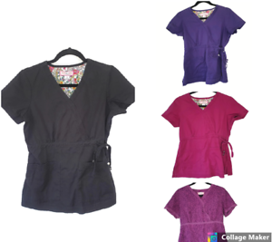 Lot-of-4-Koi-by-Kathy-Peterson-Scrub-Tops-Solid-Scrubs-Shirts-Size-Small