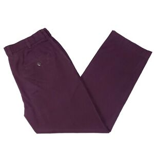 Brooks-Brothers-Clark-Fit-Chinos-35x29-Burgundy-Plum-Cotton-Pants-Flat-Front-Man