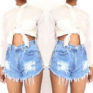 GIRL-Summer-Women-039-s-High-Waist-Stripped-Short-Jeans-Denim-Hot-Beach-Pants-Shorts