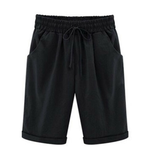 Women Ladies Casual Loose Shorts Trousers Cropped Pants Summer Holiday Plus Size