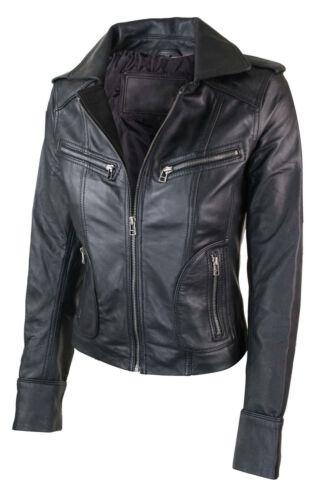 Fit Jacket Læder Motorcykel Real Biker Slim Short New Ladies Women xq8Uw8av