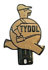 Vintage Tydol Oil License Plate Topper - Embossed - ORIGINAL - Rare