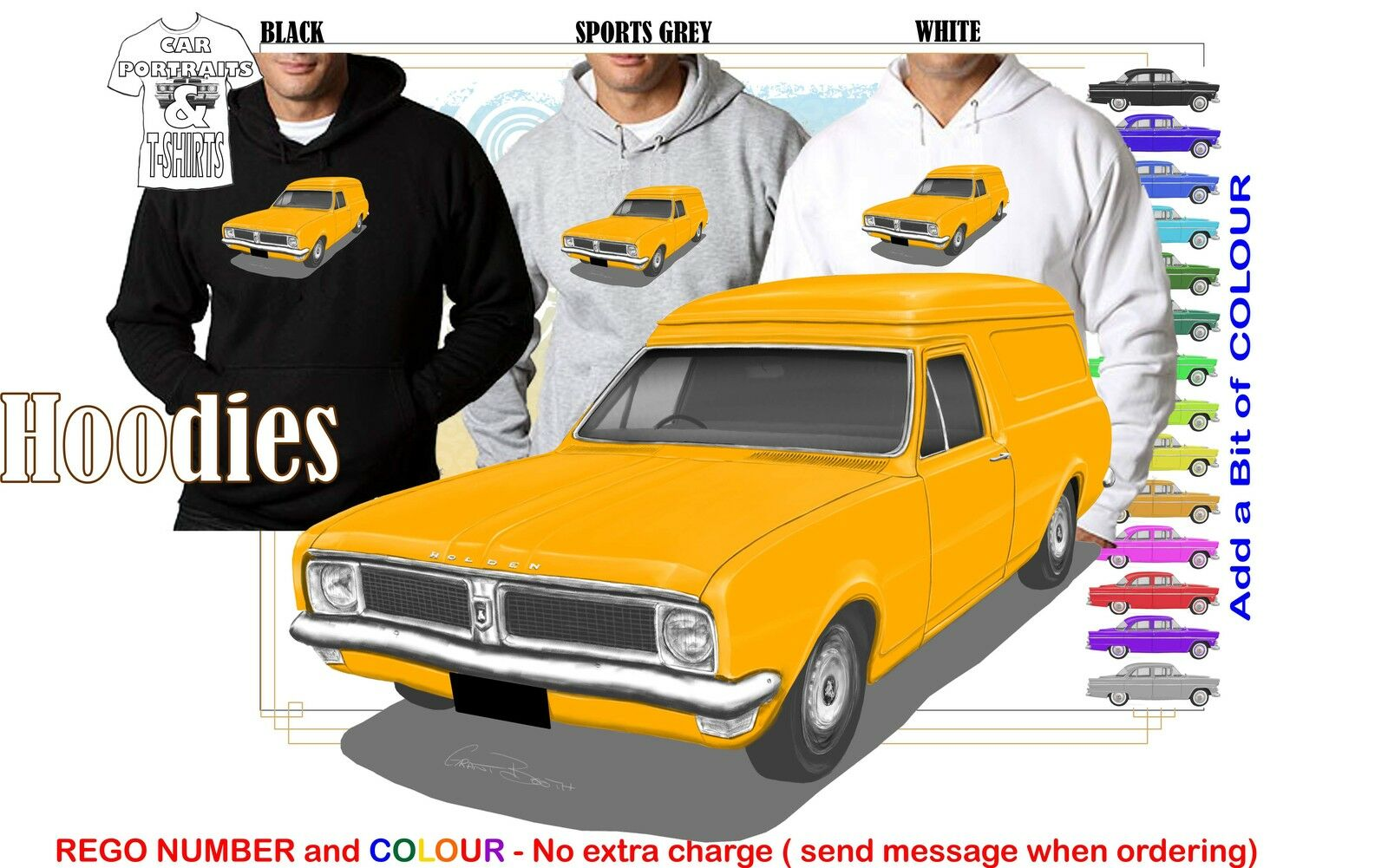 70-71 HG HOLDEN VAN HOODIE ILLUSTRATED CLASSIC RETRO MUSCLE SPORTS CAR