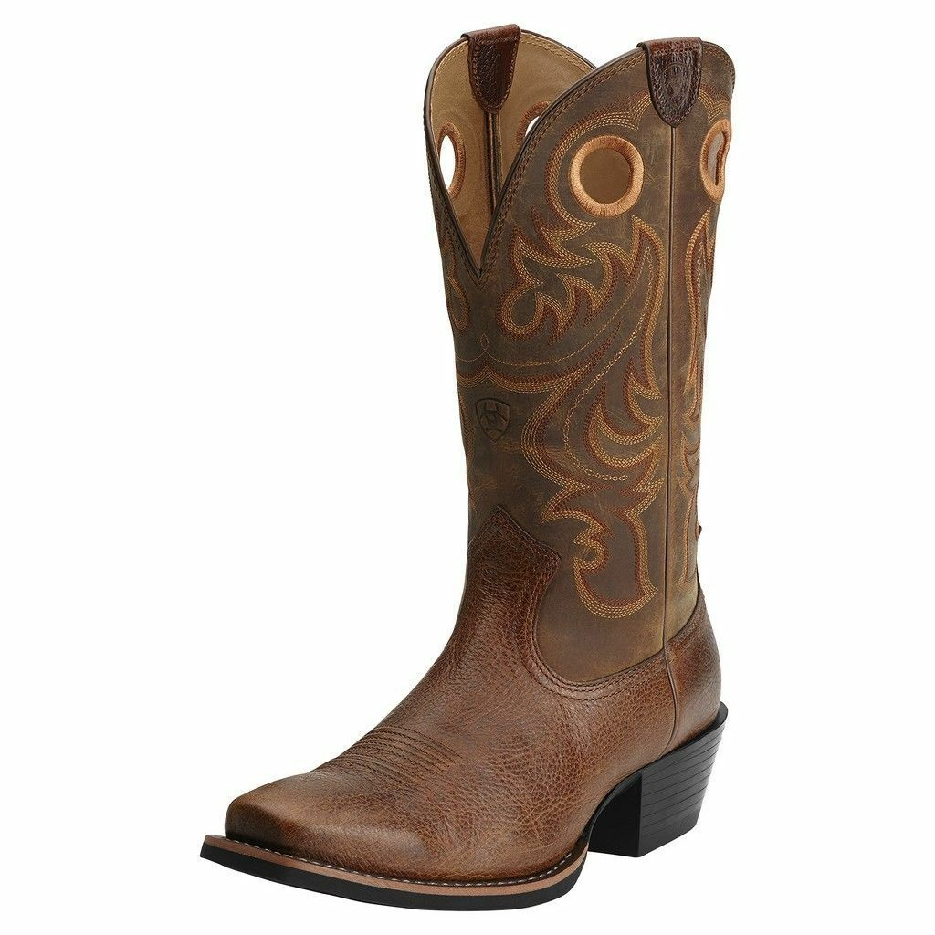 NEW!!! ARIAT MENS BROWN LEATHER SPORT COWBOY WESTERN BOOTS! 10014025-NEW IN BOX!