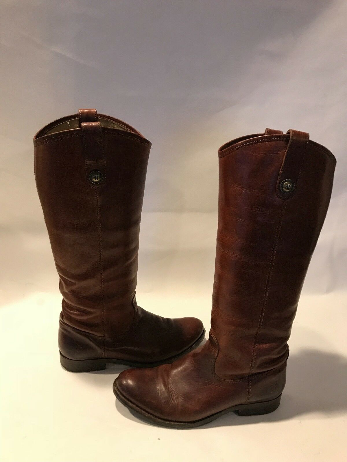 FRYE Melissa Cognac Brown Leather Knee-Hi Boots Size 6.5  B