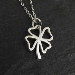 925 Sterling Silver Pendant Lucky Shamrock Luck NEW Four Leaf Clover Necklace
