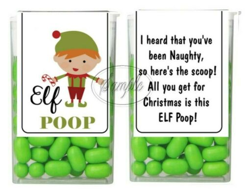 Elf Poop Tic Tac Labels Christmas Stocking Stuffers Party Favors 14 CT Stickers