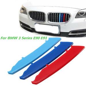 Clip-Bande-M-Sport-3-Couleur-Calandre-Kidney-Grille-pour-BMW-3-Series-E90-E91