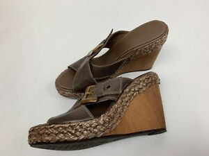 GEOX Brown Leather Buckle Sandals Shoes Wooden Wedge Heels