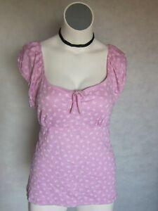 NEW-Pink-Bows-Baby-Doll-Peasant-Top-Shirt-T-Shirt-Stretch-Paris-Blues-18-20-2x