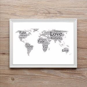 World map of love word art print personalised wedding engagement image is loading world map of love word art print personalised gumiabroncs Images