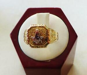 10-Kt-Yellow-Gold-Mans-Masonic-Ring-From-An-Estate-Size-8-Free-USA-Shipping