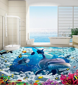 3D Delfines De Ladrillo Papel Pintado Mural Parojo Impresión de suelo 890 5D AJ Wallpaper Reino Unido Limón