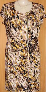 NEW-EVENTS-Stretch-Jersey-Print-Short-Sleeve-Zipper-Trim-Summer-Dress-Size-16