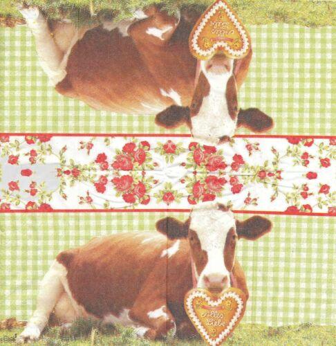 Paper Hankies Cow Serviette 3 Mouchoirs en papier Vache Rosy